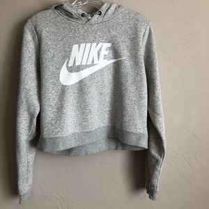 Nike Gray Hooded Crop Sweater